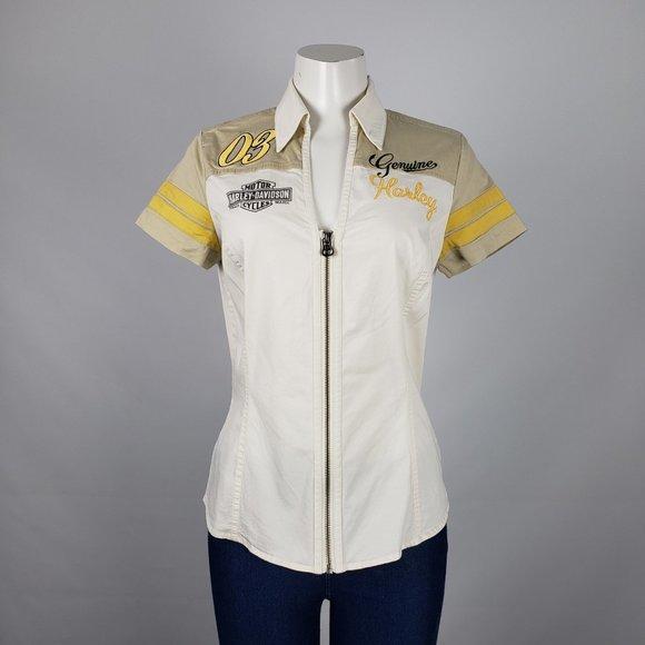Harley Davidson Yellow Zip Up Top Size S